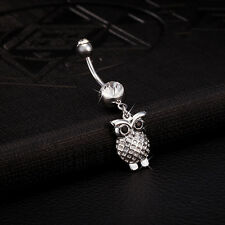 Navel Belly Bars Crystal Dangly Body Piercing Belly Button Ring Silver Cute Owl