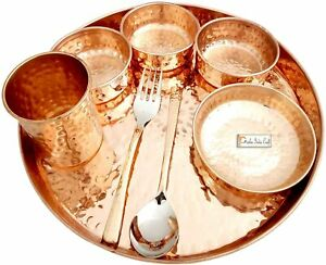 """India Craft Pure Copper Thali Set of Plate, Bowl, Spoon, Fork, Glass, 12"""""""