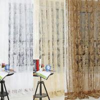 AU_ Flower Pattern European Style Living Room Window Curtain Tulle Drape