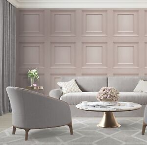 3D Panel Effect Wallpaper Heavy Weight Italian Amara Wood Textured Vinyl Pink