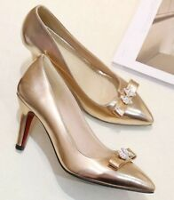 Gold Heels with diamante bow - size 8.5 - BNWT