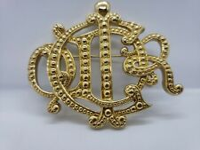 CHRISTIAN DIOR Authentic Vintage Gold Plated Brooch/Pin Logo Monogram CD Signed
