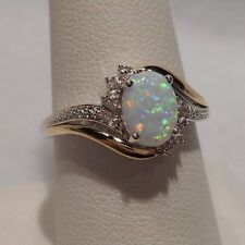 Alwand Vahan~Opal & Diamonds 10k Yellow Gold & 925 Sterling Silver Ring Size 6