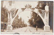 RARE Real Photo Hazleton PA Street Banner Grand Fraternity Insurance 1906 RPPC