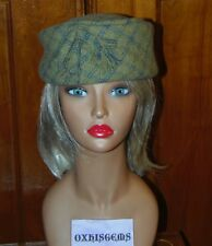 Celtic Stylish Green Plaid Vintage Ladies Hat with Satin Orange Lining 1950's