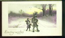 LOVING WISHES Sepia Toned Boy Girl Firewood Vintage 11cm x 6.3cm Greeting Card