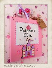 Princess Bedroom Door Sign PERSONALISED With NAME Handmade Children's Plaque