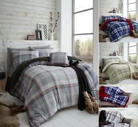 LINCOLN CHECK Teddy Bear Fleece Duvet Cover Set Thermal Warm Soft Sherpa