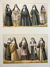 Costume Sœur Religieuse - Chromolithographie originale 19e Racinet HOSPITALIÈRES