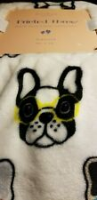 "Jenna Loves Collection Printed Fleece Glasses  Frenchie Throw New 50"" x 70"""