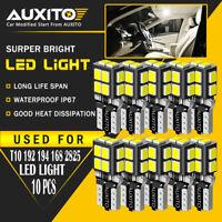 10x AUXITO T10 W5W 194 168 2825 LED Interior Wedge Light Bulb White 14-LED EOA