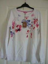 JOULES Irene White Abstract Floral-Sweat-shirt UK 12, EUR 40, US 8. Entièrement NEUF dans sa boîte