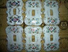 Lot of (6) Vintage Porcelain Arnart Light SWITCH PLATE COVERS Japan Floral 7310