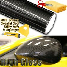 "24"" x 60"" Premium 5D HIGH GLOSS Black Carbon Fiber Vinyl Bubble Free Air Release"