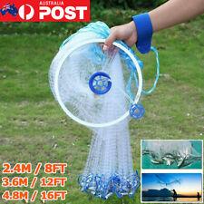 Fishing Cast Net Quick Throw Mono Nylon Mesh Drawstring Chain Bottom Spread