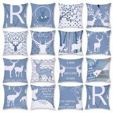 "18"" Christmas Light Blue Elk Pillow Cases Short Plush Cushion Cover Home Decor"