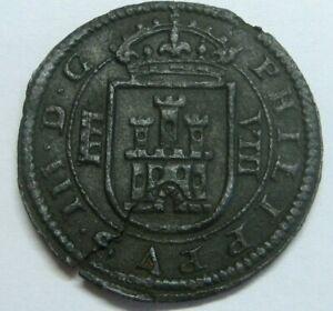 1618 SEGOVIA 8 MARAVEDI PHILIP IV SPANISH COLONIAL PIRATES COPPER