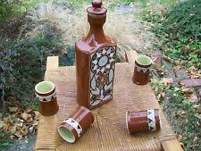 Vintage Ussr ceramic pottery vodka carafe bottle & 4 shot glasses Lviv Ukraine