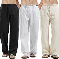 Pants Straight Men's Cotton Linen Solid Drawstring Trousers SF Loose Casual 2019