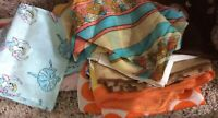 Group 14 Vang Scarves w Flaws for Crafts Silk, Rayon, Poly, Nylon Squares, Rect