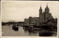 Amsterdam Niederlande Nederland Holland ~1930 Openhavenfront Hafen Kerk Kirche
