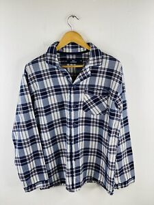 Nic Morris Men's Long Sleeve Flannel Shirt Size M Blue Check Collared Pockets