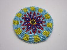 "Beaded Rosette 3"" Round Leather Sewing Regalia Crafting  Native Design 10B"