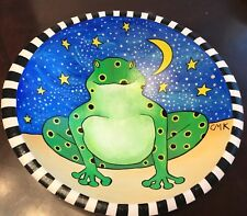 Wooden Hand Painted Frog Bowl
