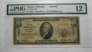 $10 1929 Atmore Alabama AL National Currency Bank Note Bill Ch. #10697 PMG FINE!