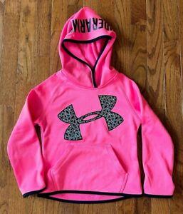Under Armour Girls Bright Neon Pink Pullover Hoodie, Pockets, Black Trim, Size 5
