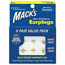 Silicon Ear Plugs Snoring Sleep Swimming ~ MACKS Pillow Soft Earplugs, 6 Pairs