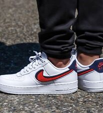 Nike Air Force 1 '07 Chenille Swoosh White Blue Red Men Size 11 Rare 823511-106