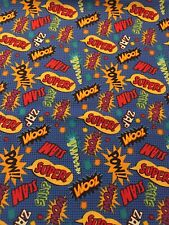 NEW Comic Book SUPER HERO Words Sayings Fabric By the Half Yard 100% Cotton
