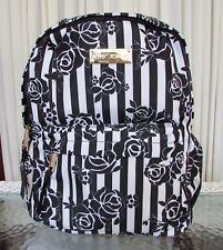 Betsey Johnson Backpack Black White Roses Striped Travel School Bag NWT