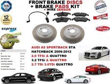 FOR AUDI A5 SPORTBACK 09-12 FRONT BRAKE DISCS SET + DISC PADS KIT + WIRE SENSOR