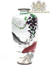 Seltene Ginbari Emaillierte - Cloisonné Vase mit Fischen - Japan Nagoya, Meiji