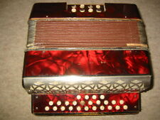 old RED Hohner Liliput button accordion WWII Tornisteraccordeon C/F need service