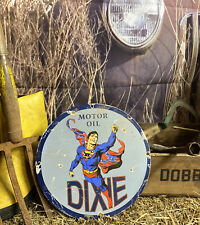 New Listing12� Rare Dixie ⛽� Motor Oil Porcelain Metal Pump Plate Superman Sign