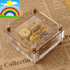 ACRYLIC CUBIC GOLD WIND UP MUSIC BOX :SOMEWHERE OVER THE RAINBOW