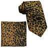 New Vesuvio Napoli Polyester Men's Neck Tie & hankie set leopard print brown