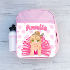 Personalised Princess Ballerina Ballet Girls Kids Backpack, Childrens School Bag