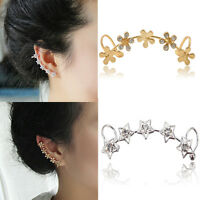 Fashion Womens Crystal Star Flower Ear Cuff Stud Wrap Clip Earring Jewelry Gift