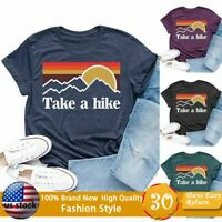 Womens Casual Tops Take A Hike Letter Print T-Shirt Short Sleeve Hiker Tee Tops