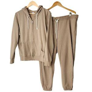 Old Navy Sweat Suit Set- Full Zip Hoodie and Sweatpants Women's XL Brown Neutral