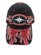 Polaris Racing Snowmobile Cap Team Hat Black Red Flames AdjustBack * Autographs*