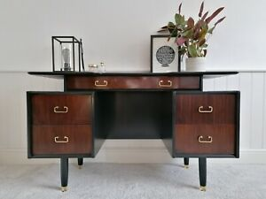 G Plan Dressing Table Desk Side Board Mid Century Black and Gold