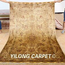 Yilong 5'x8' Persian Silk Rug Hand-knotted Gold Traditional Carpet Handmade 1025