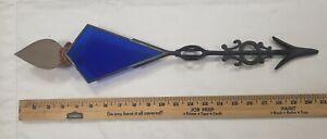 Stunning Antique Kitetail Design Cobalt Glass Tail Weathervane Arrow
