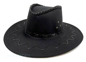Mens Cowboy Hat Fedora Bucket Cap Faux Suede Wide Brim Sun Visor Summer Fishing