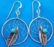 Vintage D. CHIQUITO signed Turquoise sterling silver earrings navajo indian #619